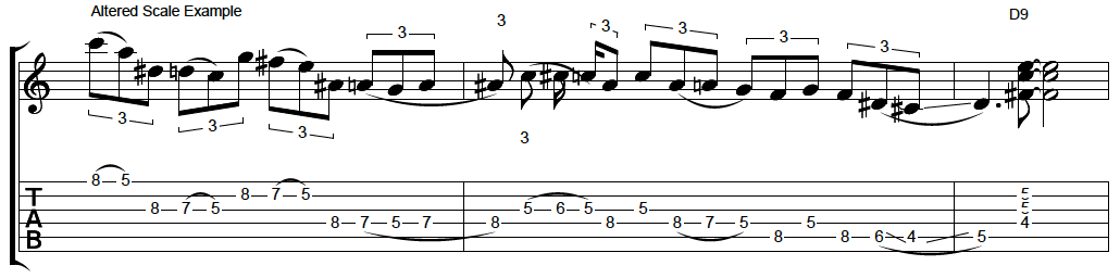 altered scale blues lick